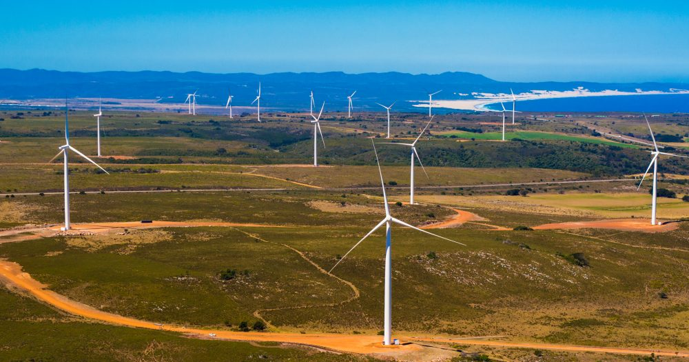 Wind turbines on an African plain
