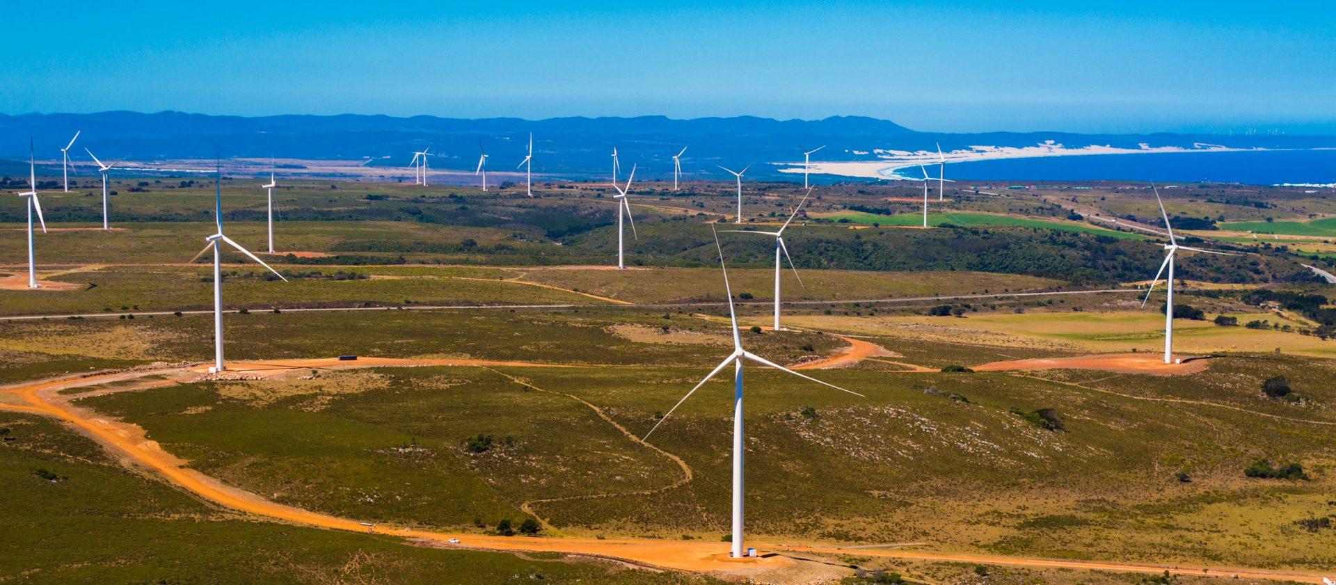 Wind turbines on an African plain