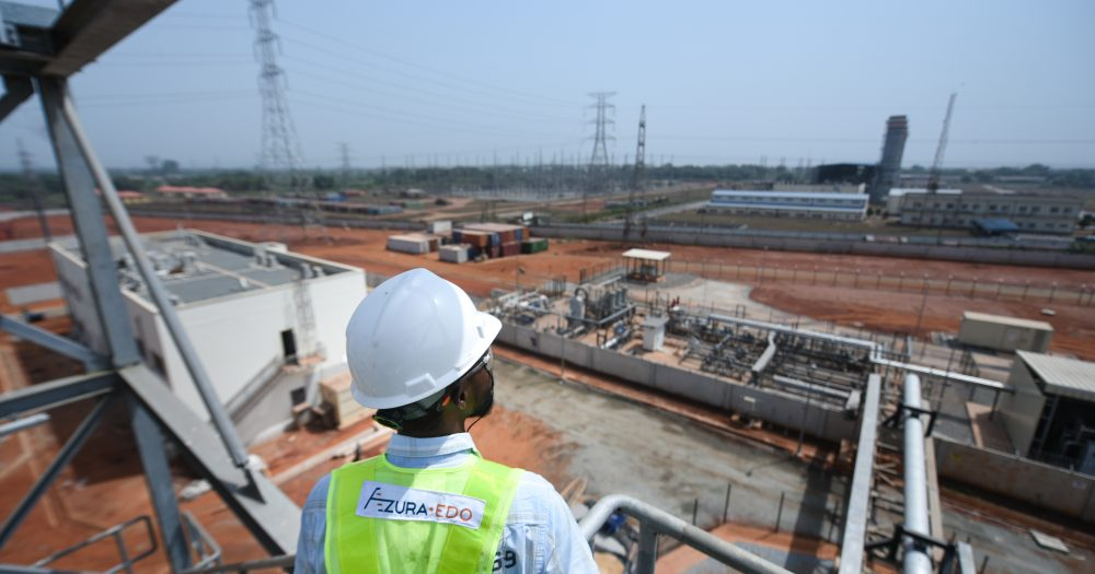 From a high point, an Azura-Edo employee observes the progress of work being carried out at the Azura-Edo Independent Power Plant.