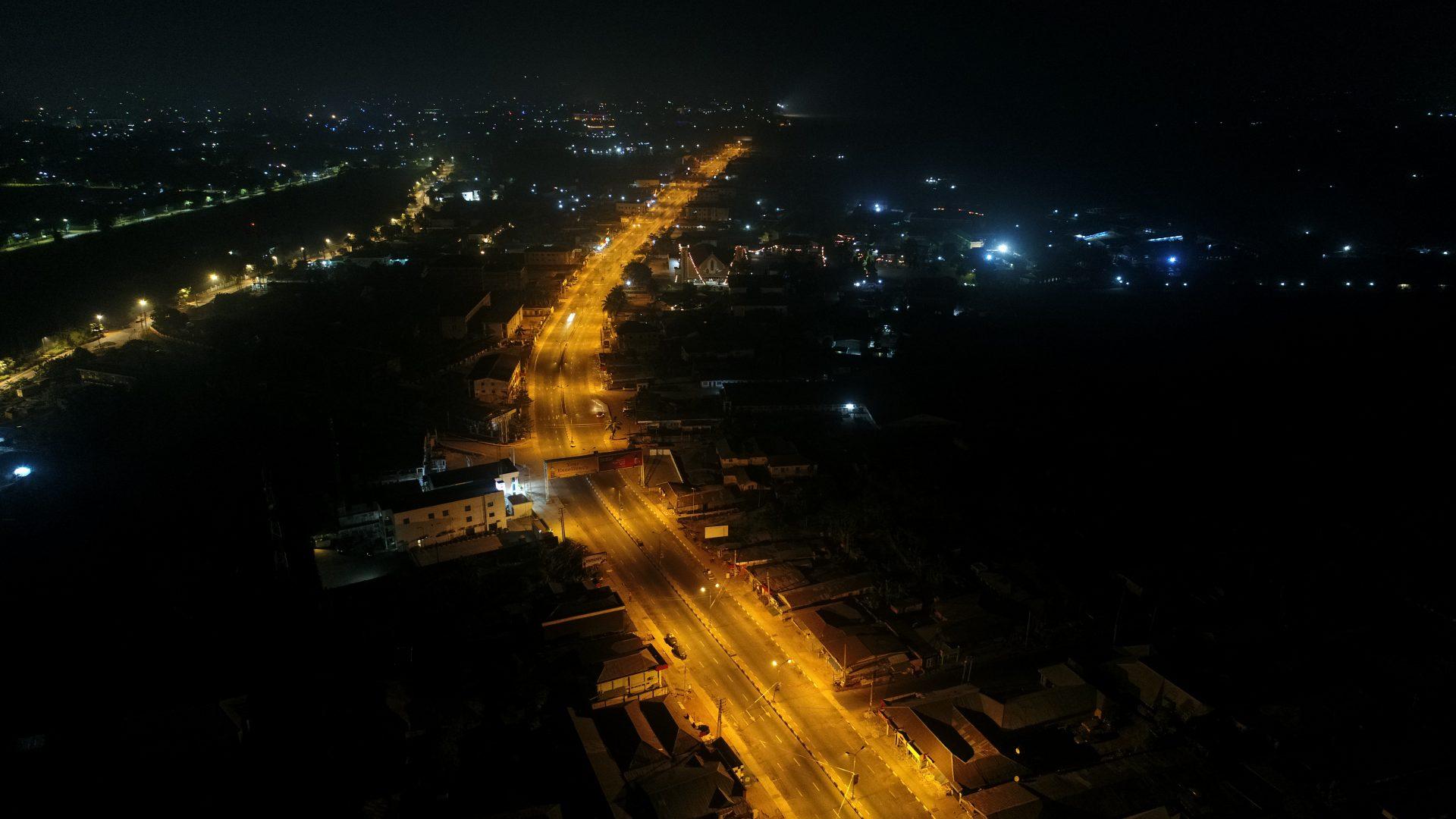 Motorway lit up at night
