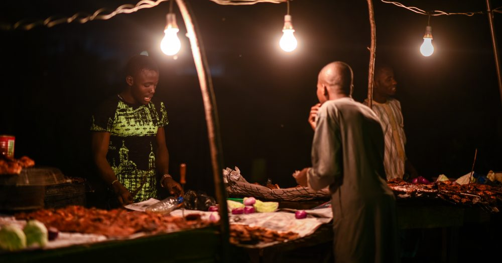 Suya, a roasted meat, is sold during the night along Ring Road by Ewaise Road in Benin City.