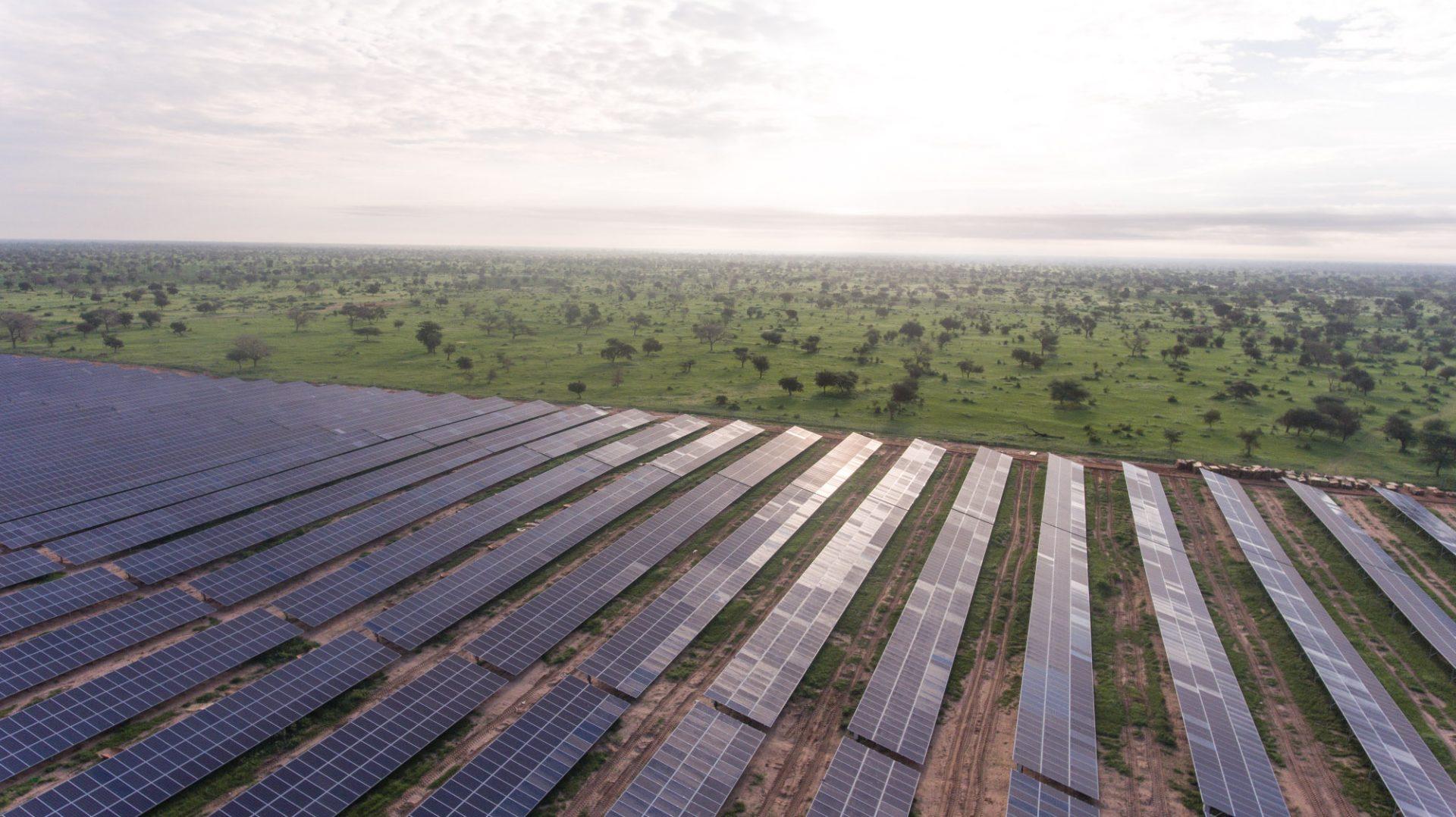 Solar panels on a vast plain